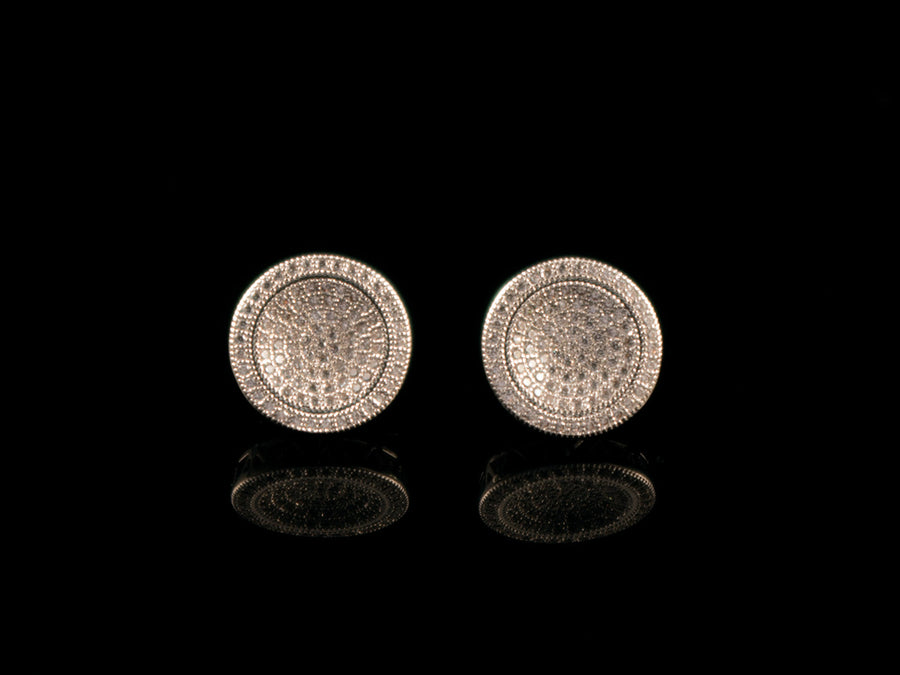12mm Iced White Gold Round Cluster Earrings - All4Gold.com