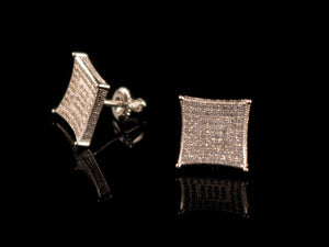 White Gold Diamond Paved Concave Square Stud Earrings - All4Gold.com