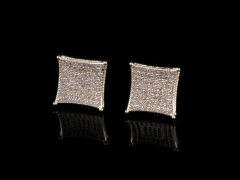 White Gold Concave Iced Earrings