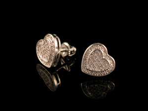 White Gold Iced Heart Stud Earrings - All4Gold.com