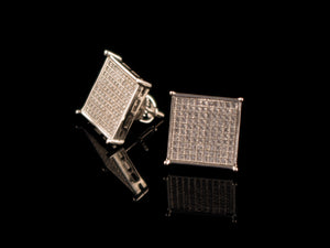 White Gold Iced Square Stud Earrings - All4Gold.com