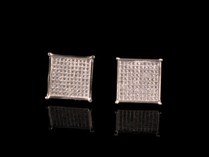 White Gold Micro Pave Square Stud Earrings - All4Gold.com