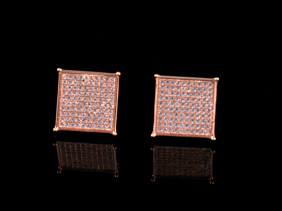 Iced Rose Gold 10 Row Square Stud Earrings - 12mm - All4Gold.com