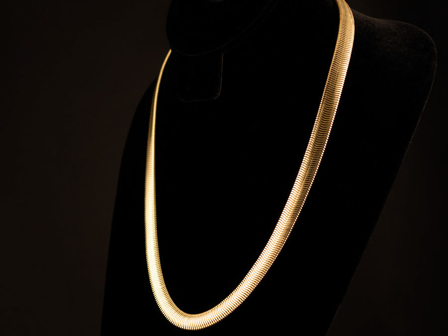 18K Gold 10mm Herringbone Chain - All4Gold.com