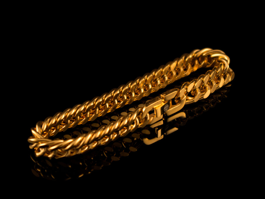 18K Gold 8mm Double Cuban Link Bracelet - All4Gold.com