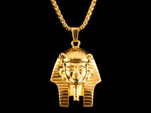 Egyptian Gold Pharaoh Headdress Pendant + Necklace - All4Gold.com