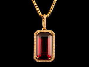 18K Gold Iced Red Crystal Pendant - All4Gold.com
