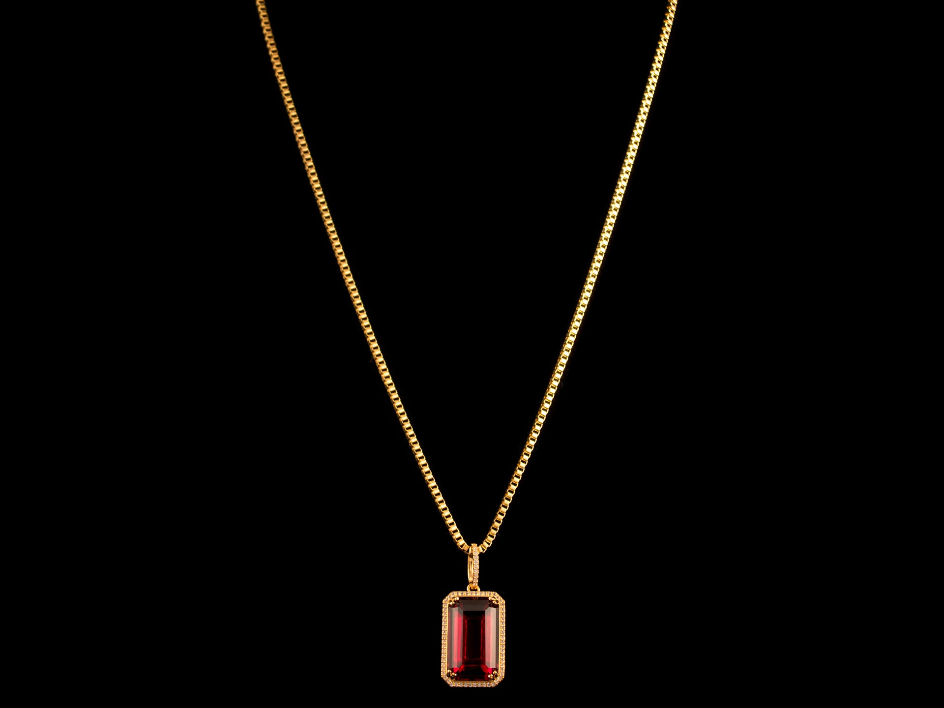Paved Red Crystal Charm & Necklace