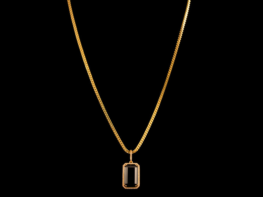 18K Gold Iced Black Crystal Pendant - All4Gold.com