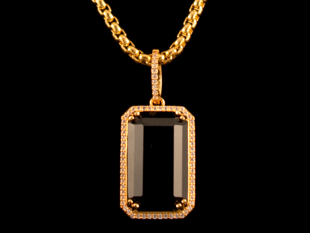 Paved Black Crystal Charm & Necklace