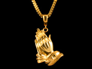 18K Gold Praying Hands Pendant - All4Gold.com