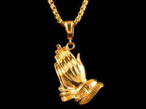Gold Praying Hands Pendant + Necklace - All4Gold.com