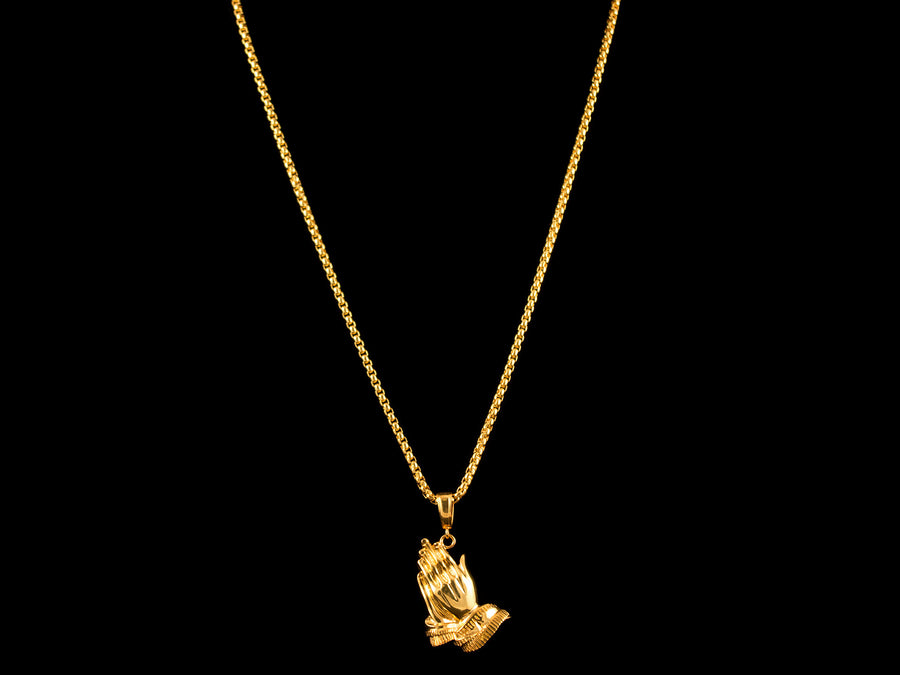 Gold Praying Hands Pendant - All4Gold.com