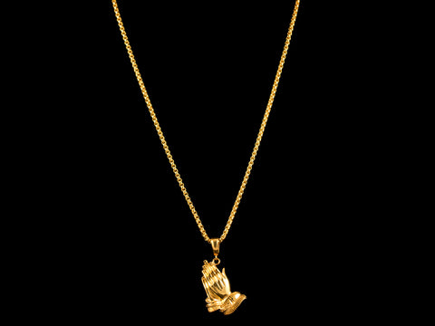 Gold Praying Hands Pendant + Necklace