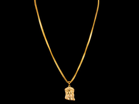 Micro Pave Jesus Piece Pendant + Necklace - Gold