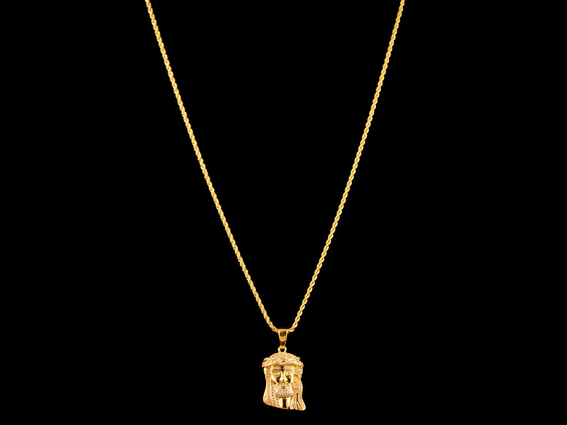 Paved Micro Jesus Piece & Necklace