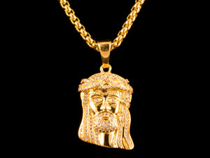 Micro Pave Jesus Piece Pendant - Gold - All4Gold.com