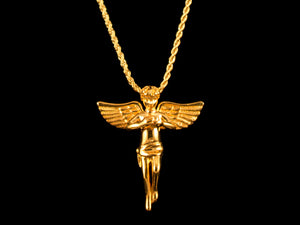CZ Crystal Inset Angel Charm - All4Gold.com