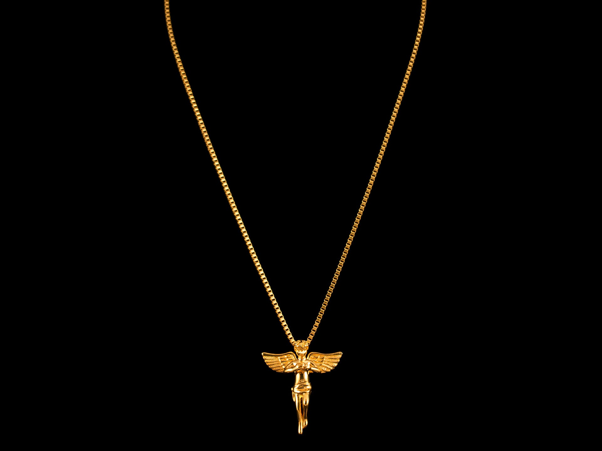 CZ Inset Angel Charm & Necklace