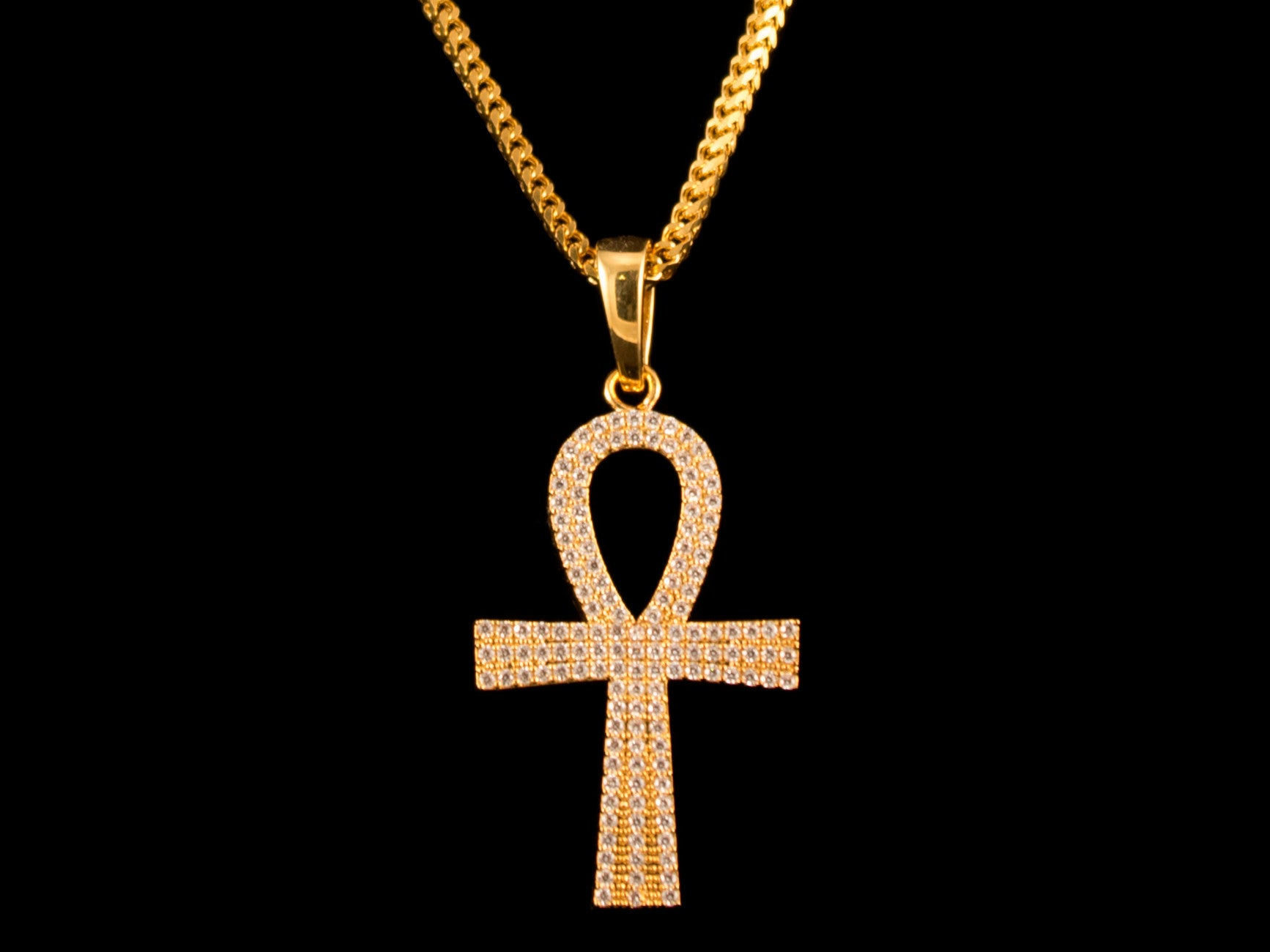 Paved Egyptian Ankh Charm & Necklace