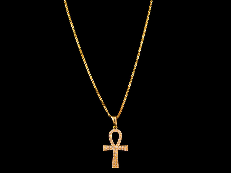 Gold Micro Pave Egyptian Ankh Pendant + Necklace - All4Gold.com