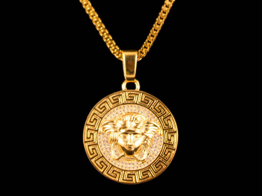 Micro Pave Medusa Head Pendant + Necklace - Gold - All4Gold.com