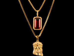 Gold Iced Jesus Piece + Red Crystal - All4Gold.com