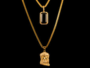 18K Gold Iced Jesus Piece + Black Crystal - All4Gold.com