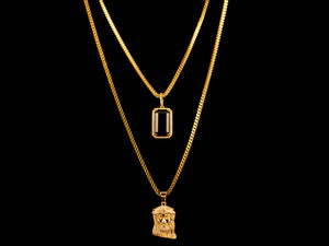 Gold Micro Pave Jesus Piece + Black Crystal - All4Gold.com