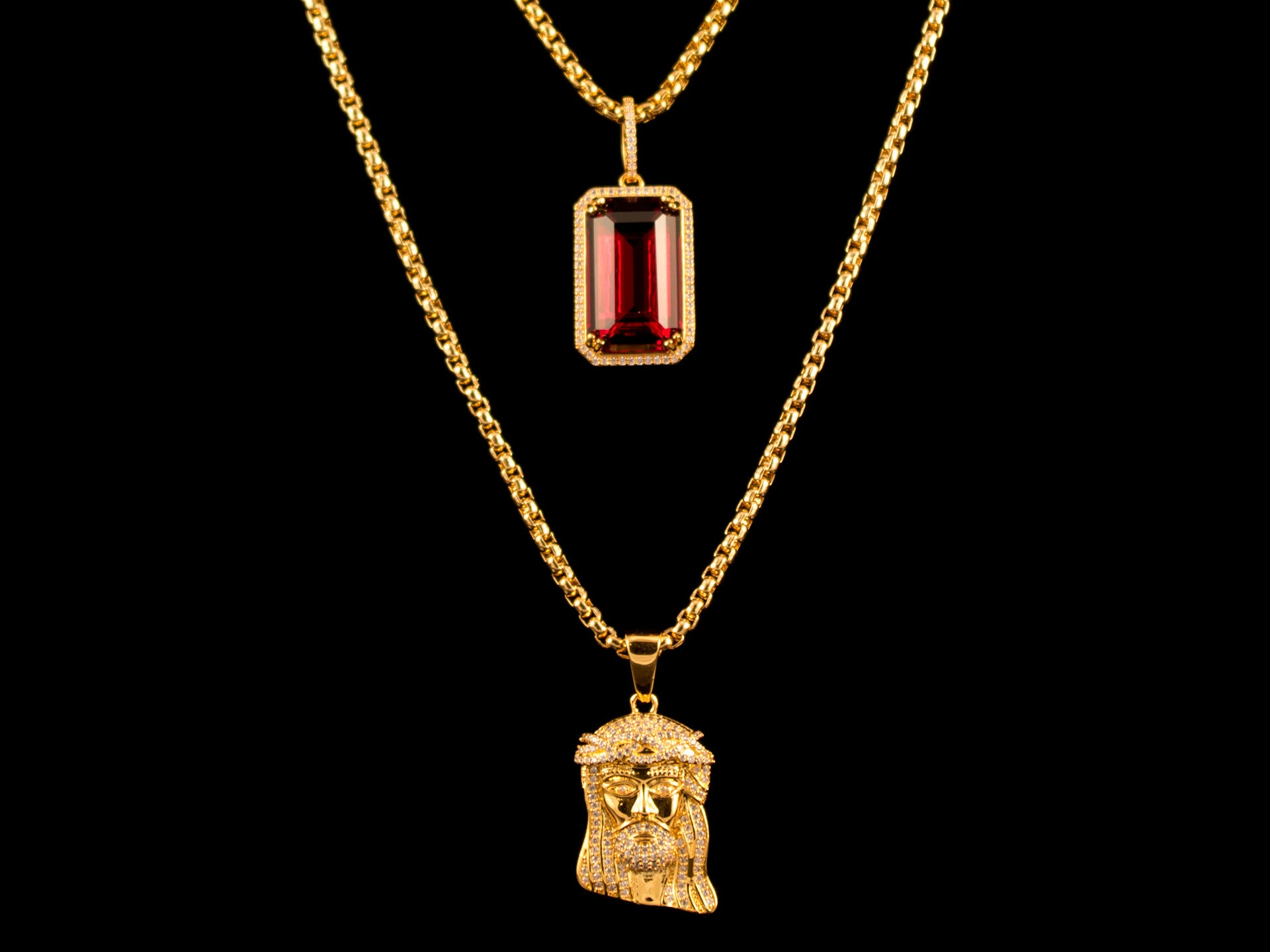 Iced Gold Micro Jesus Piece + Red Crystal