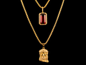 Gold Micro Pave Jesus Piece + Red Crystal - All4Gold.com