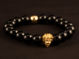 Black Agate Stone Gold Lion Beaded Bracelet - All4Gold.com