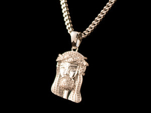 White Gold Micro Pave Jesus Piece + Necklace - All4Gold.com