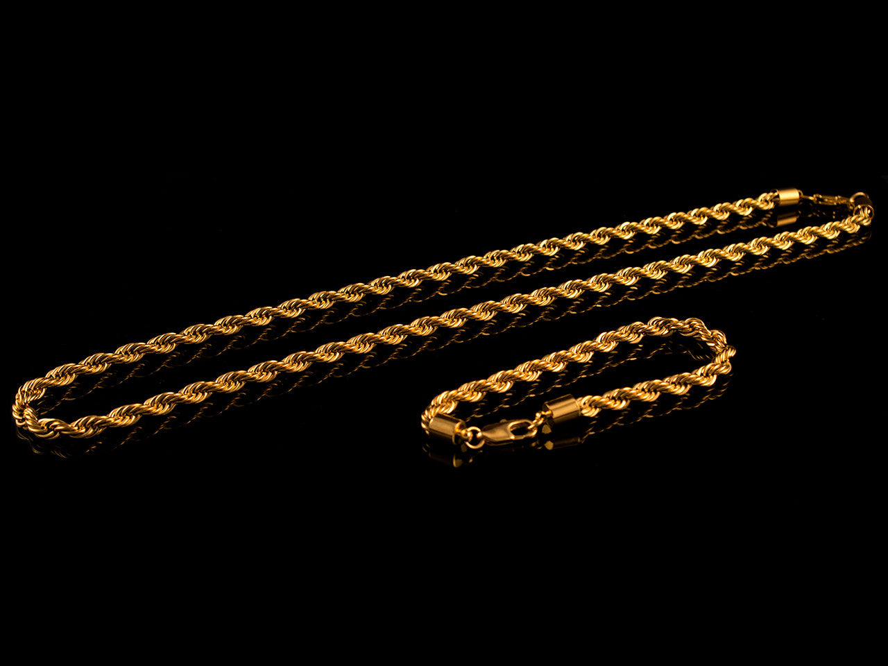 Gold 6mm Rope Necklace & Bracelet Set