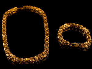 "18K Gold 8mm Byzantine Link 22"" Necklace + Bracelet - All4Gold.com"