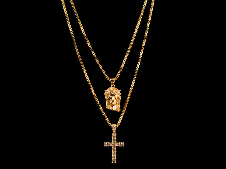 Diamond Crown Jesus Piece + Diamond Micro Cross - All4Gold.com