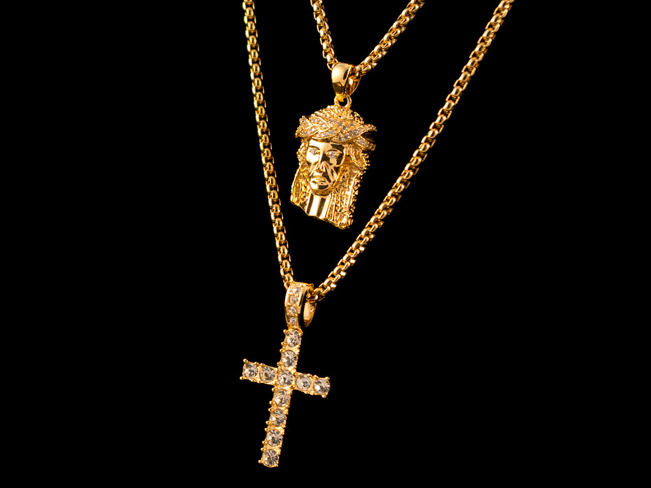 Paved Crown Jesus Piece & CZ Cross Set