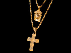 Diamond Crown Jesus Piece + 3 Row Paved Cross - All4Gold.com