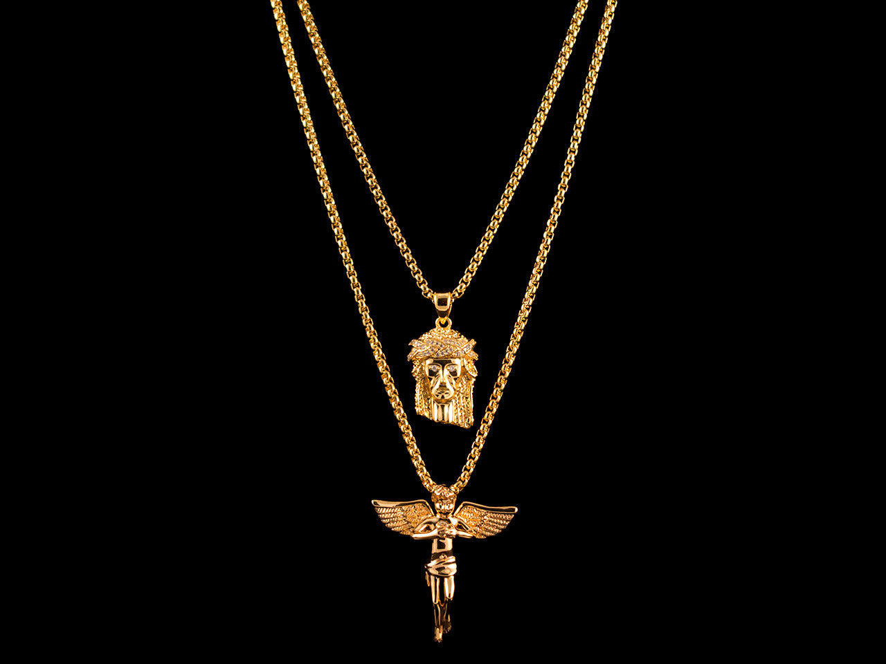 Paved Crown Jesus Piece & Inset Angel
