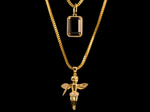 18K Gold Iced Angel + Black Crystal - All4Gold.com