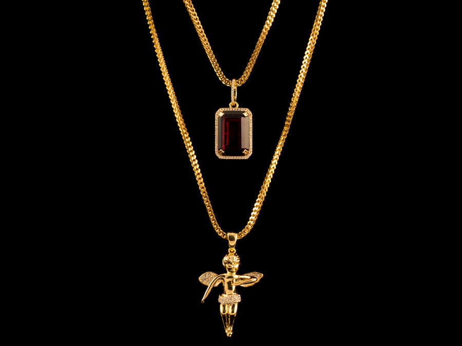 18K Gold Iced Angel + Red Crystal Set - All4Gold.com