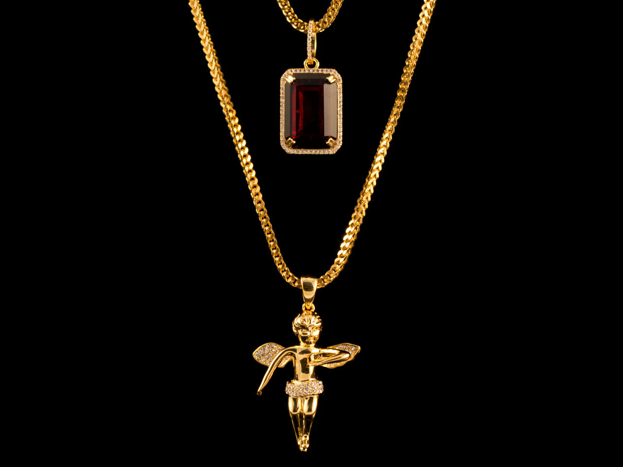Iced Gold Angel + Red Crystal Set