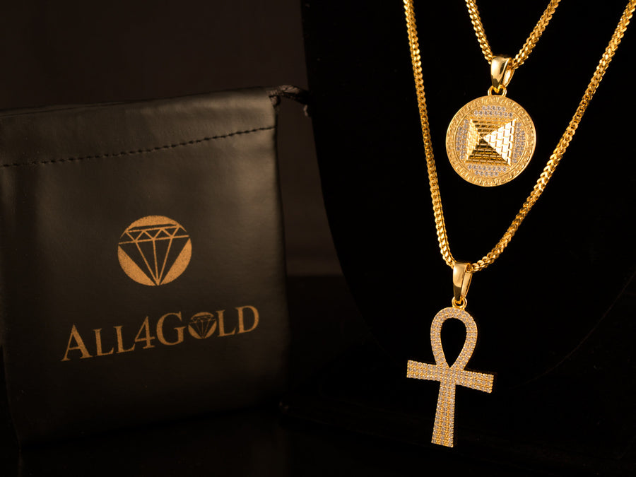 18K Gold Iced Ankh + 3D Pyramid - All4Gold.com