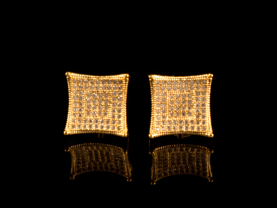18K Gold Iced Concave Square Earrings - All4Gold.com
