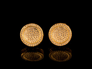12mm Gold Round Micro Pave Cluster Earrings - All4Gold.com