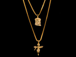 Gold Micro Pave Jesus Piece + Angel - All4Gold.com
