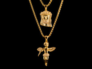 18K Gold Iced Jesus Piece + Angel - All4Gold.com