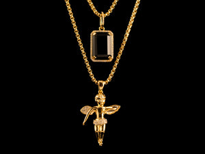 Micro Pave Gold Angel + Black Crystal - All4Gold.com