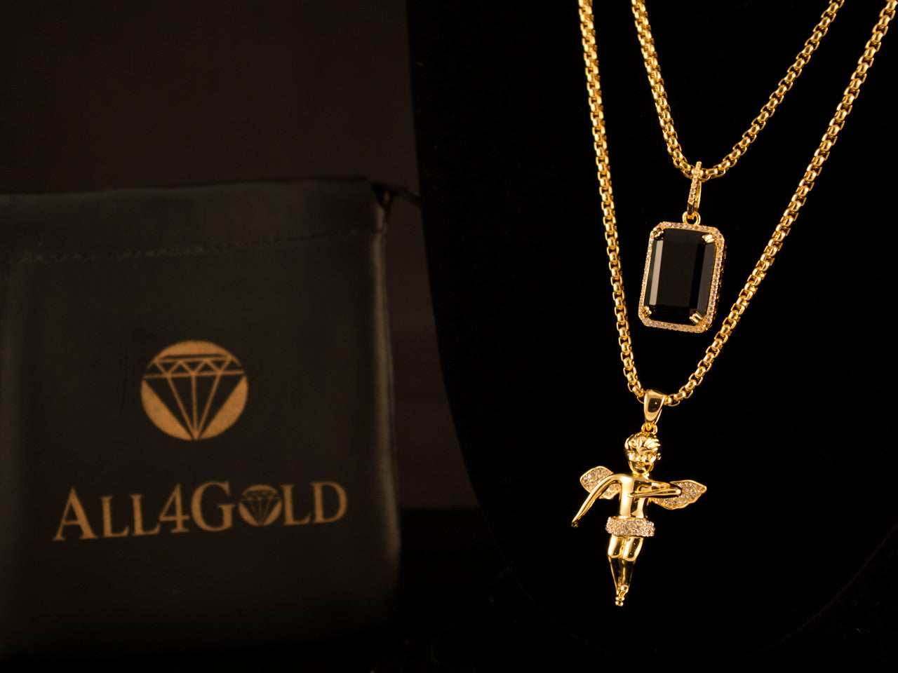 Iced Gold Angel + Black Crystal