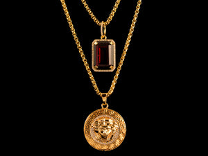 Gold Micro Pave Medusa + Red Crystal - All4Gold.com